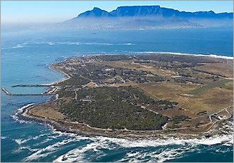 Robben Island with Table Mountain in background
