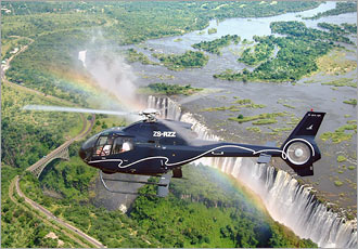 Take a helicopter flight over the falls